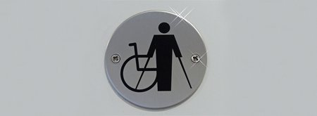 Symbol of person using crutches