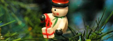 Snowman decoration on a Christmas tree