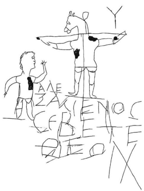 The Alexamenos Graffito mocking Jesus on the Cross